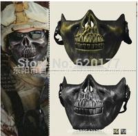 Free shipping skull mask half face protective equipment CS combat Skeleton Warrior Halloween horror masks props