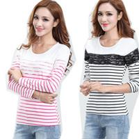 Autumn new product stripes female T-shirt fashion leisure yarn splicing stripes female T-shirt Women T shirt