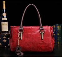 New 2015 Classic Europestyle women chain zipper oil wax leather crocodile luxury tote bag sac de marque bolsas femininas couro 9