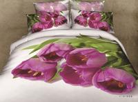 Pink Tulip bedclothes 3D bedding sets bed linen 3d quilt cover bed sheet pillow case two shams home textile bed sets sale B2884