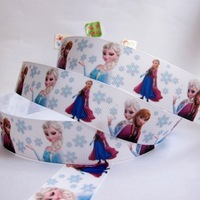 "Wholesale 1""25mm Frozen Elsa AnnaPattern Grosgrain Polyester Printed DIY Hairbow Ribbon Package Belt 20 yard Free shipping"