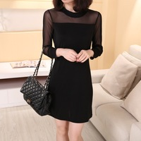 2014 autumn Women Plus size Dresses fashion long-sleeved  stitching gauze sexy Dress NY069