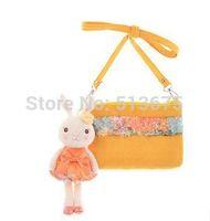 Free Shipping 2014  New Tiramisu rabbit doll plush toys horizontal bag purse pendant holiday gift girls cute doll children gifts