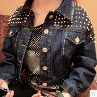 European and American punk rock beading Heavy metal rivets frayed denim jacket women short shirt