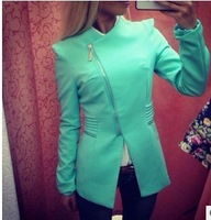 2014 Autumn Womens' good quality high-end custom diagonal zipper jacket free shipping Casual fashion suit