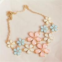Hot Sale Women Elegant Sweet Ice Cream Flower Gem Lattice Summer Faux Collar Necklace&Pendant