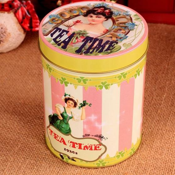 Retro Vintage Tea Time Girl Pink Stripe Kitchen Coffee Tea Sugar Candy Biscuit Container Jar Tin Metal Zakka(China (Mainland))