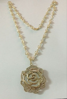 Free Shipping---(Min. Order $20)2014 Lady News Private Custom Pear Long Necklace with Rose Pendant