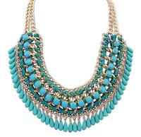 Layered Bohemian Tassels Fringe Drop Vintage Weave Multilayer Collar Necklace Choker Chain Bib Statement Necklace & Pendants