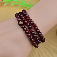 Classic Red Sandalwood Chunky Wood Rosary 108 Bracelets Beads Handmade Lucky Multilayer Japa Mala 6mm