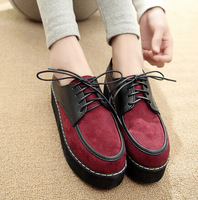 2014 new fashion women's shoes vintage lace-up Creepers flat plataform shoes Boat Shoes Summer Autumn Casual shoes