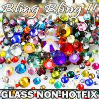 Nail Art Cystals Mix Sizes Colors 800pcs/Bag,Glass Non HotFix FlatBack Rhinestone SS4 SS6 SS8 SS10 SS12 SS16 SS20 SS30 strass