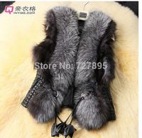 Short Adjustable Waist Oversized fur collar PU leather vest and cotton imitation leather vest Miss Ma Jia Slim models