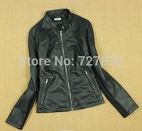 Short Zipper Mandarin Collar Slim Women Jacket, Pu Leather Wash Collar Short Coat Warm Jacket Stitching Jacket,