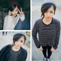 New 2014 Autumn Fashion Sailor Style Striped Sweatshirt Women Casual Long-sleeved O-neck Sweatshirt Girl t shirt  709