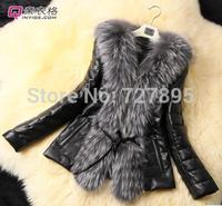 Adjustable Waist Short Faux Leather Oversized fur collar PU leather jacket plus cotton imitation leather jacket,Slim coat