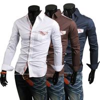 Free Shipping 2014 new fashion male models decorative flower stitching Plaid shirt  US Size:XS,S,M,L  9623 NP