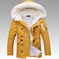B 2014 new men's winter cotton jacket thick warm fashion brand casual outdoor ovo tie cap cotton coat XL XXL P