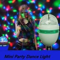 Free Ship 1pc Full Color 3W E27 RGB LED Small Crystal Magic Ball Light Rotating DJ party stage Bulb rotating Lamp Bar decoration