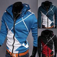 Free shipping 2014 new arrive autumn men jacket coat men's casual slim with a hood sweatshirt color block splicing  hoodies men