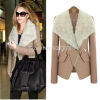 2014 Autumn winter woolen overcoat fur collar overcoat short design slim outerwear female wool thermal