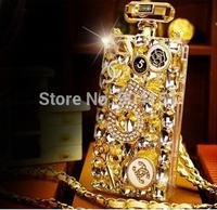 Cellphones Luxury Perfume Bottle Lanyard  Bling Diamond Case For iphone 5g 5s 4 4s samsung S4 S5 note 2 3 Handbag TPU Back Cover