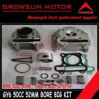 50cc 52mm Big Bore Performance Kit  (valves 20*23*64mm) GY6 50cc 139QMB Chinese Moped Scooter Parts  Roketa,Baotian,Taotao