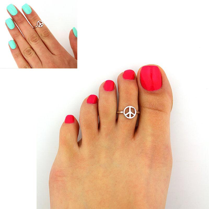 3pcs Women Girl Stylish Adjustable Anti war Sign Toe Ring Foot Beach Jewelry