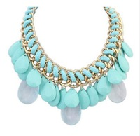 CTT Wholesale Good Quality New Jewelry Four Colors Water Drop Exaggerated Weaving Alloy Statement Necklace For Woman