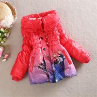 New 2014 Frozen girls winter coat, girls long cotton-padded clothes,Children warm winter down coat! Fashion girls winter jackets