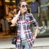 E12 Women Autumn Winter Cotton Long Sleeve Shirt M -XXL Lady Girl Casual Plaid Tops Tee Blouse Female Punk clothing blusas Shirt