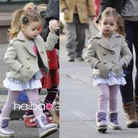 2014 girl's overcoat children's wool coat short design fashion double breasted turn-down collar outerwear girls jacket kids wear
