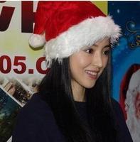 Christmas decoration quality velvet plush hat super soft christmas hats