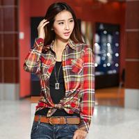 E14 Women Autumn Winter Cotton Long Sleeve Shirt M -XXL Lady Girl Casual Plaid Tops Tee Blouse Female Punk clothing blusas Shirt