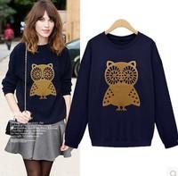 New 2014 Autumn Korean Fashion Women Casual  Loose Owl Printed sweater Pullovers Long-sleeve O-neck Sweatshirt Girl t shirt 789