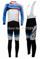 2014 CUBE Thermal Fleece Cycling Jersey bib kit long Sleeve bib pants ropa Ciclismo bicycle Cycling thight fitness clothes MTB