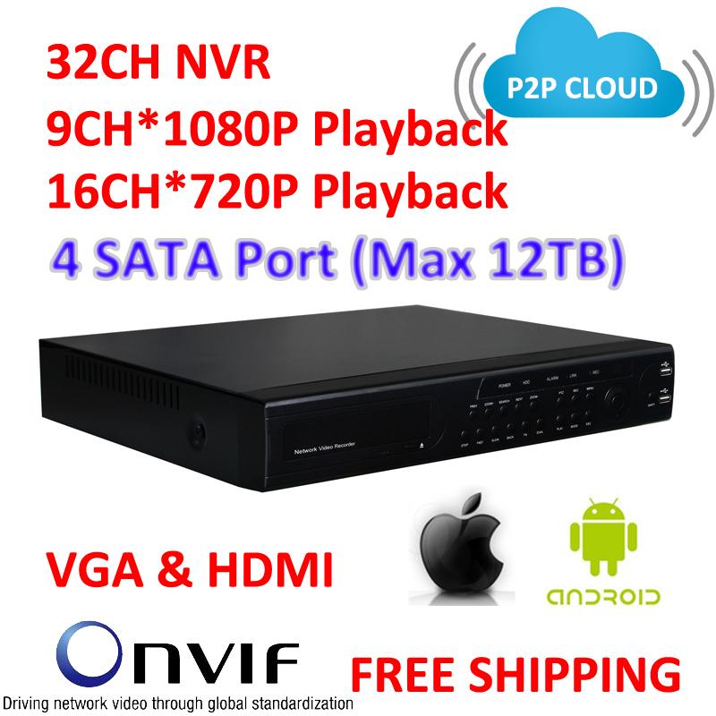 TVision CCTV, Onvif , P2P Cloud NVR, 32CH NVR, VGA & HDMI Output, 4 SATA Port High Performance CCTV IP Recorder(China (Mainland))