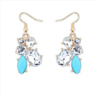 CTT Wholesale 2014 New Fashion Jewelry For Women Four Colors Sweet Water Drop Good Quality Gem Alloy Stud Earrings