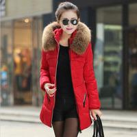New 2014 Winter Jacket Thicken Slim Female Raccoon Fur Collar Long Coat Women Parka Winter Coat Plus Size WC0288