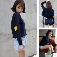 New 2014 Autumn Fashion  Loose Casual Long sleeved Love Heart Printed Pullovers Short Sweatshirt  O-neck  Girl t shirt 834