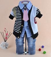2014 new boys gentlemen cardigan+shirt+pant clothing sets 3pcs kids clothes sets baby boy coat set boy children clothing