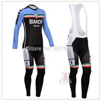 bianchi 2014 Thermal Fleece Cycling Jersey bib kit long Sleeve bib pants Cycling thight ropa Ciclismo fitness clothes bicicleta