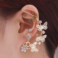 Min.order is $10/ Fashion punk women earrings alloy butterfly cuff earring crystal earrings for women 100% Excellent Quality