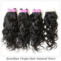 Brazilian Virgin Lace Closure with Bundles 4pcs/lot Brazilian Human Hair Natural Wave Free Part 4*4 inch Top Closures