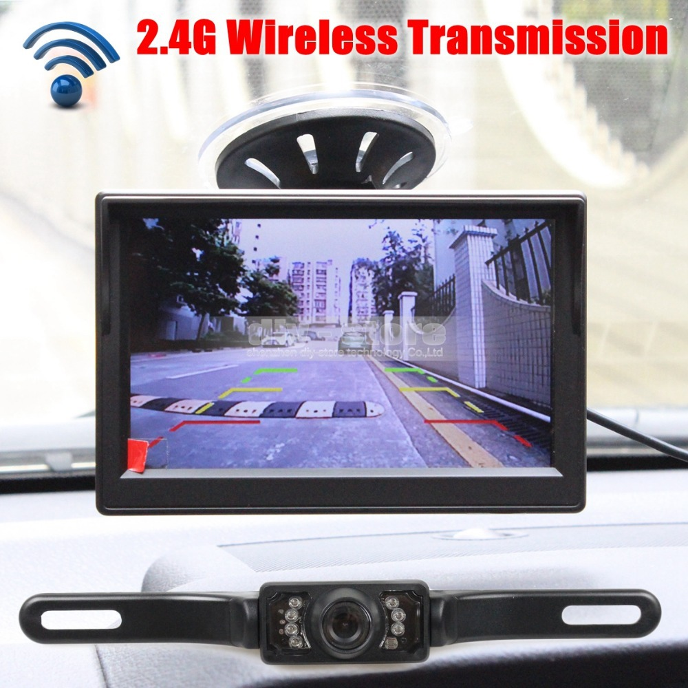 Wireless Car Van Truck Parking IR Night Vision Reversing Camera + 5 Inch Car Monitor Rear View Security System(China (Mainland))