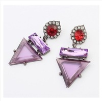 CTT Wholesale 2014 New Fashion Jewelry For Women Purple Color Anchor Good Quality Atmosphere Vintage Crystal Earring