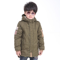 Free shipping Kids children's lambs wool long thickening warm coat jacket winter boys classic cotton-padded clothes