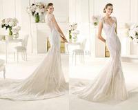 qn-129 new custom made elegant heavy bling beads mermaid scoop sheer back floor length wedding dress bridal gown 2014