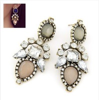 CTT Wholesale 2014 New Fashion Jewelry Red gray Color Sweet Water Drop Exaggeration Of Precious Stones Stud Earrings For Women