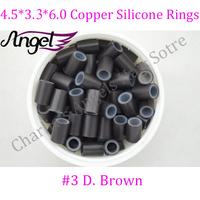 Charlie's Angels 1 jar 500pcs #Dark Brown 4.5*3.3*6.0 Micro Copper Tube Silicone Rings/Links/Beads Loop Hair Extension Tools